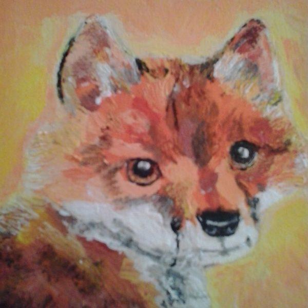 volpe-dipinta-su-legno-particolare